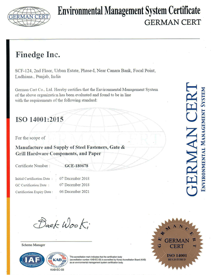 Finedge Inc Quality Certificates for Wrought Iron Products Ornamental Iron Hardware gate grill components