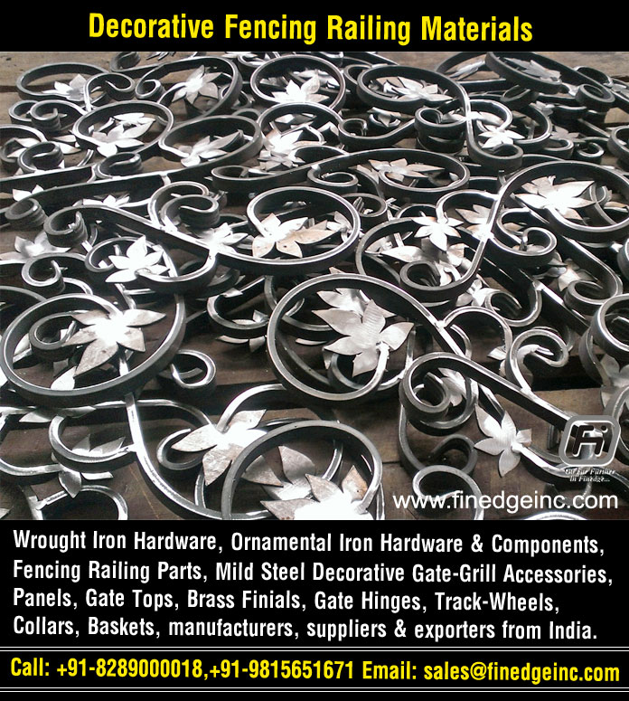 railing materails wrought iron hardware ornamental iron components fencing parts decorative steel railing materials gate grill accessories parts manufacturers suppliers exporters in India UK USA Germany Italy Canada UAE