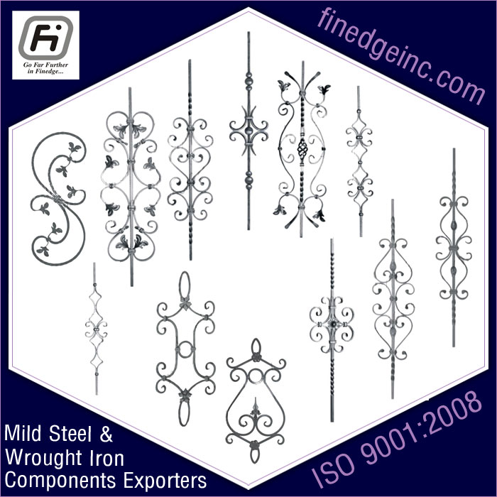 mild steel panels wrought iron hardware ornamental iron components fencing parts decorative steel railing materials gate grill accessories parts manufacturers suppliers exporters in India UK USA Germany Italy Canada UAE