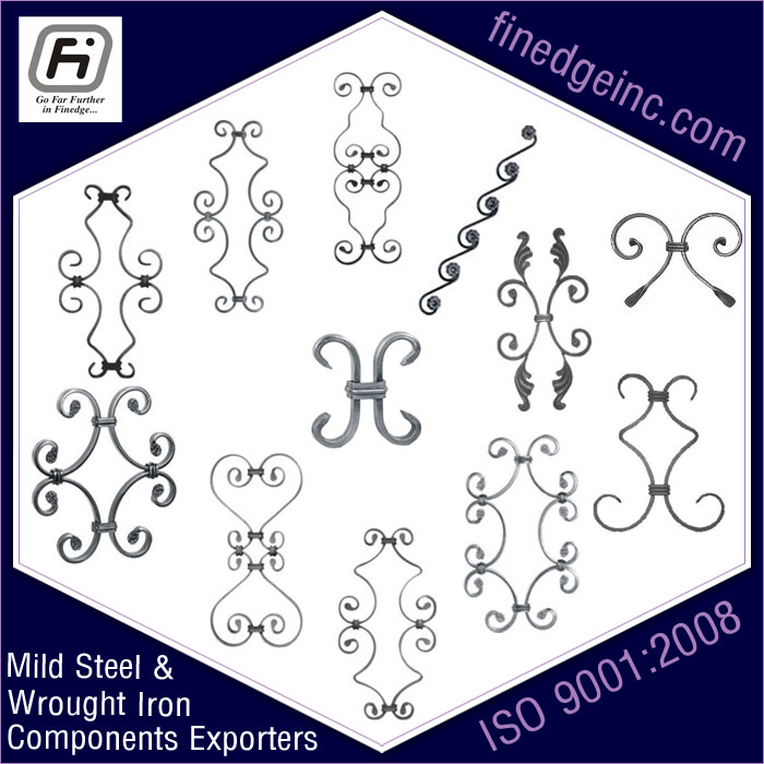 clip on unit wrought iron hardware ornamental iron components fencing parts decorative steel railing materials gate grill accessories parts manufacturers suppliers exporters in India UK USA Germany Italy Canada UAE