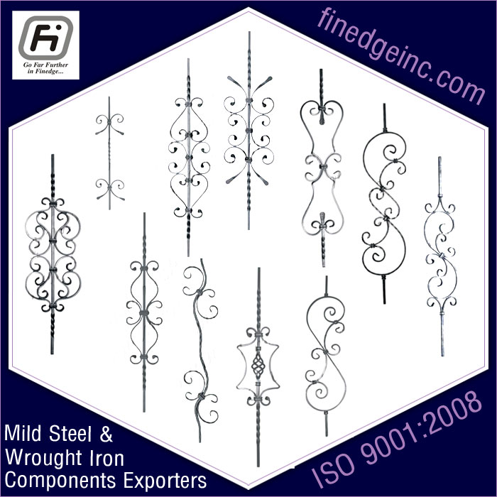 decorative panels wrought iron hardware ornamental iron components fencing parts decorative steel railing materials gate grill accessories parts manufacturers suppliers exporters in India UK USA Germany Italy Canada UAE