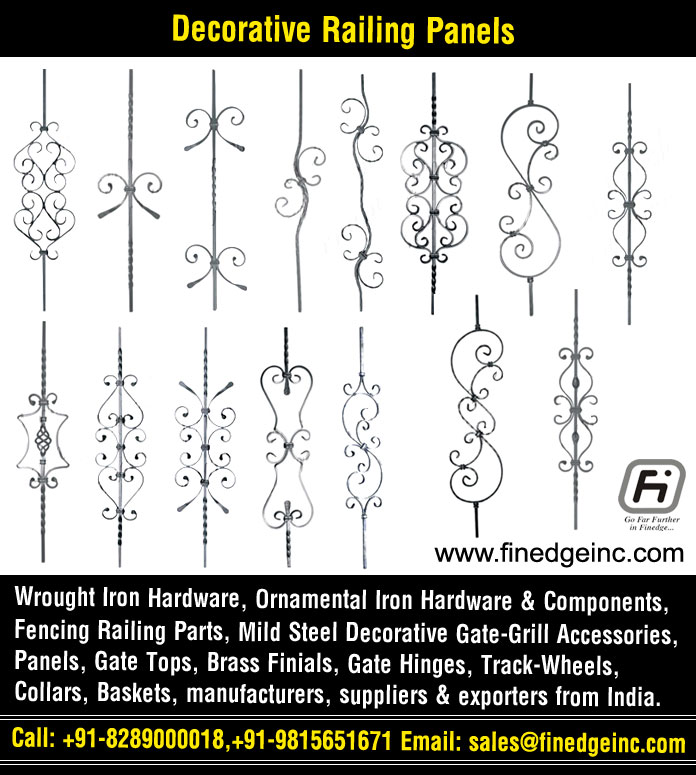 railing panels wrought iron hardware ornamental iron components fencing parts decorative steel railing materials gate grill accessories parts manufacturers suppliers exporters in India UK USA Germany Italy Canada UAE