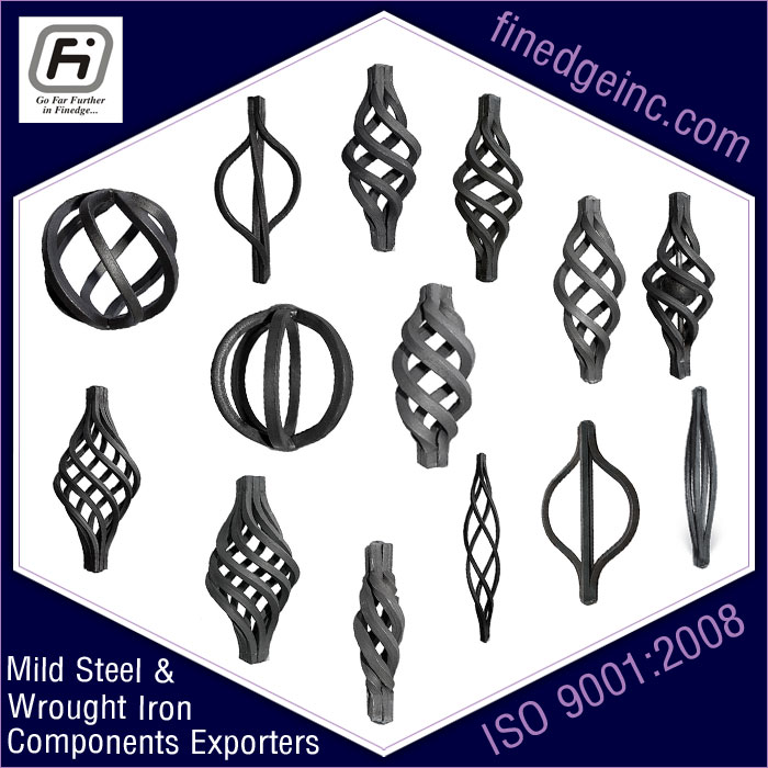 basket wrought iron hardware ornamental iron components fencing parts decorative steel railing materials gate grill accessories parts manufacturers suppliers exporters in India UK USA Germany Italy Canada UAE