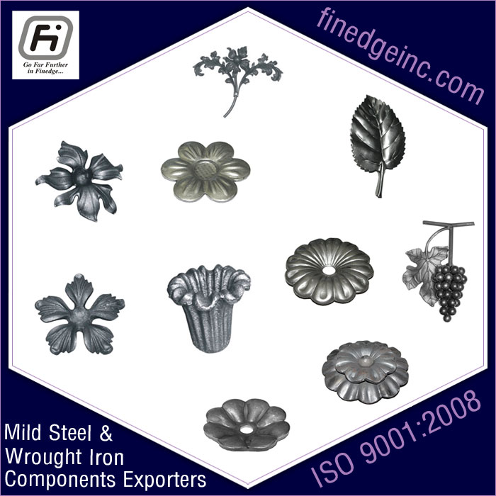 iron flowers leaves wrought iron hardware ornamental iron components fencing parts decorative steel railing materials gate grill accessories parts manufacturers suppliers exporters in India UK USA Germany Italy Canada UAE