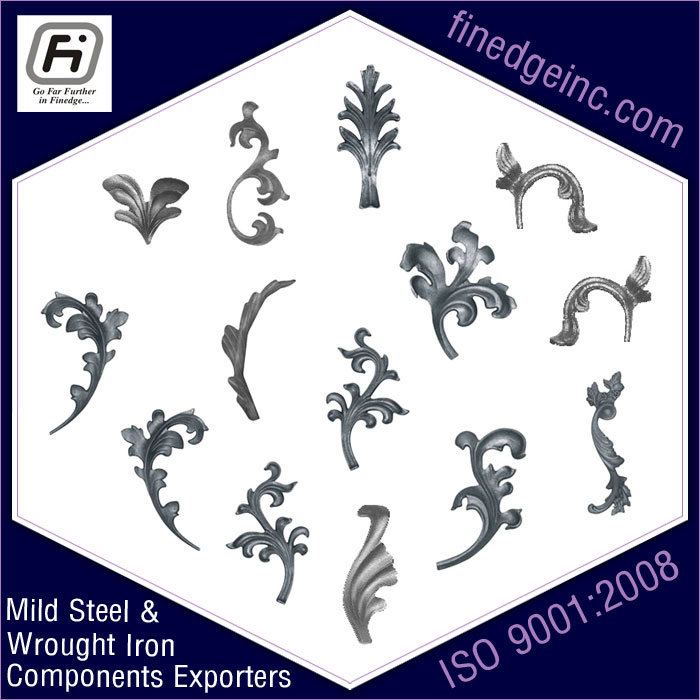 decorative leaves wrought iron hardware ornamental iron components fencing parts decorative steel railing materials gate grill accessories parts manufacturers suppliers exporters in India UK USA Germany Italy Canada UAE