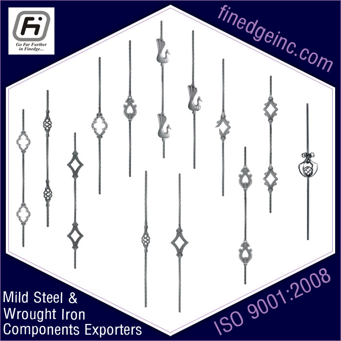 pickets wrought iron hardware ornamental iron components fencing parts decorative steel railing materials gate grill accessories parts manufacturers suppliers exporters in India UK USA Germany Italy Canada UAE