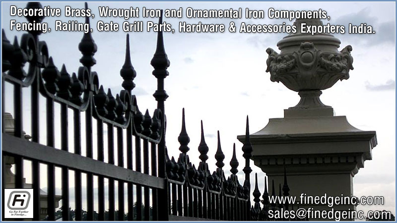 wrought iron hardware ornamental iron components fencing parts decorative steel railing materials gate grill accessories parts manufacturers suppliers exporters in India UK USA Germany Italy Canada UAE