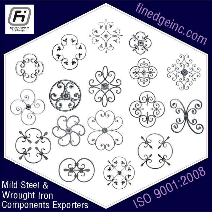 iron rossette wrought iron hardware ornamental iron components fencing parts decorative steel railing materials gate grill accessories parts manufacturers suppliers exporters in India UK USA Germany Italy Canada UAE
